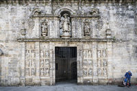 entrance facade in landmark cathedral of santiago de compostela spain