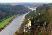 View of the Elbe river and the Wartturm rocks