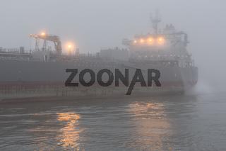 Schiff im Hamburger Hafen auf Reede in der Norderelbe bei starken Nebel, Hamburg, Deutschland
