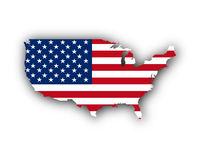 Karte und Fahne der USA - Map and flag of the USA