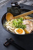 Traditional Ramen Yakibuta with Pork as close-up in a bowl