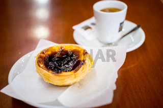 Portuguese Egg Tart And Coffee In Local Pastelaria
