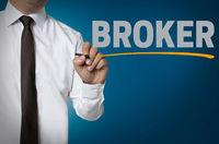 broker wird von Geschäftsmann geschrieben hintergrund