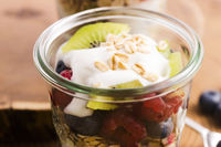 musli served with joghurt and fresh fruits