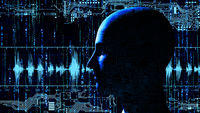 Human tech head at matrix background with electronic circuits