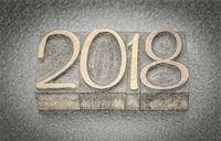 2018 year in wood type blocks