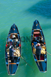 Two gondolas seen from above at Venice, Italy