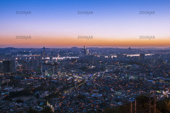 Modern Urban City at blue hour and dusk