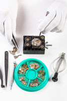 top view of repairing old mechanical watch