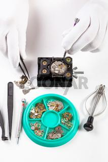 top view of repairing old mechanical watch