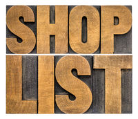 shop list word abstract typography