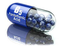 Vitamin B5 capsule. Pill with pantothenic acid. Dietary supplements.
