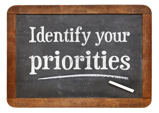 Identify your priorities - blackboard sign