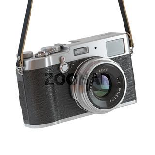 Hanging vintage retro photo camera isolated on the white backgroundl.