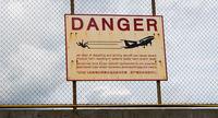 Danger jet blast warning sign