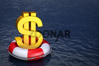 dollar on the lifebuoy