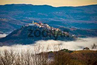 Town of Motovun above fog and istrian landscape view