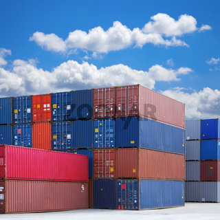 Stacked Shipping Containers and Summer Sky