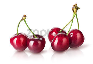 Several perfect sweet cherries