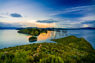 Beautiful sunset at isla amantani island on the Titicaca lake, Peru, South America