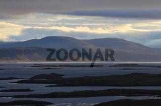 Morning scene near Budardalur. Landscape in the westfjords of Iceland.