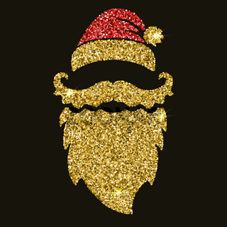Santa beard in golden style with sparkles. Design element for po
