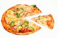 pizza with broccoli and ham
