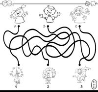 paths maze with clowns coloring book