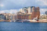The view of Sliema city skyline from Valletta across Marsamxett Harbour, Malta