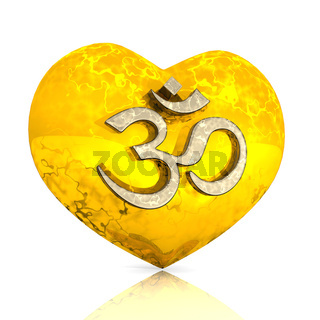 3D - OM sign on golden heart