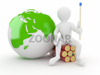 Men with earth and dynamite on white isolated background. 3d