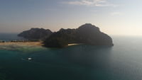 Aerial drone photo of Yong Kasem Bay (called Monkey beach), part of iconic tropical Phi Phi island