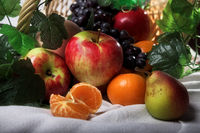still life fruit basket on the table