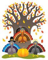 Thanksgiving turkeys thematic image 1