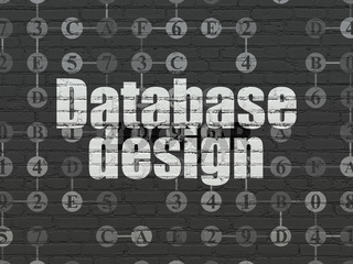 Programming concept: Database Design on wall background