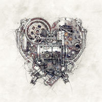 Sketch of a technical-mechanical heart
