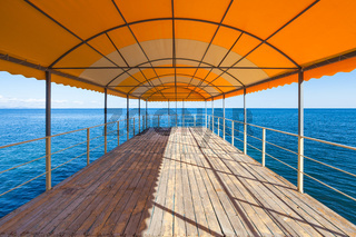 empty outdoor solarium over Black Sea