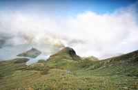 morning fog over alpine lake
