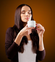 Coffee. Beautiful Girl Drinking Tea or Coffee.