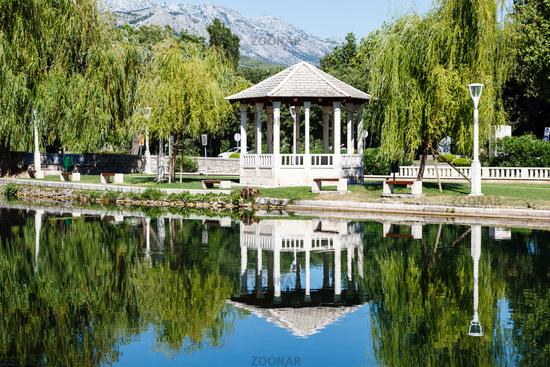 Picturesque Landscape, Pavilion, River and Willow, Solin, Croatia
