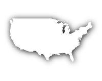 Karte der USA mit Schatten - Map of the USA with shadow