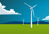 Wind energy, onshore, illustration