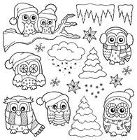 Winter owl drawings theme 1