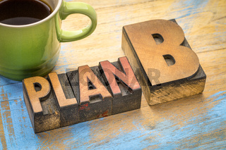 plan B - word abstract in wood type