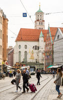 People at a street in the city of Augsburg