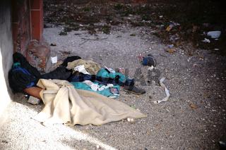 Schlafplatz Obdachloser