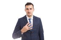 Banker broker or businessman showing number four with fingers