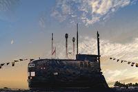 Russian submarine against sunset