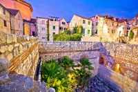 Colorful old stone street of Split historic city center dusk view