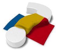rumänische flagge und fragezeichen - 3d illustration